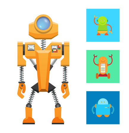 Illustration pour Futuristic machine concept, yellow robot icon, vector illustration with small smiling robots, big lense on head, two panels with buttons, springs set - image libre de droit