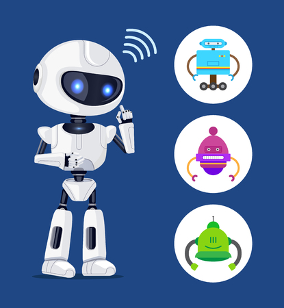 Illustration pour White Robot Sendind Radio Waves, Colorful Banner - image libre de droit