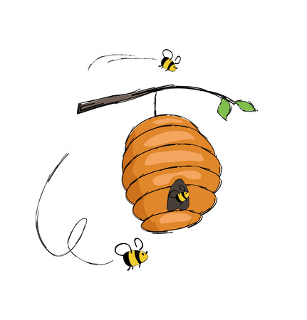 Illustration for Bees flying into hive hanging on tree branch vector illustration isolated on white. Home for insects where honey is produced, bee in cartoon style design - Royalty Free Image