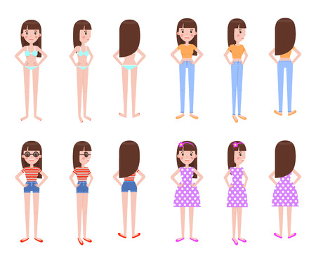 Illustration for Girl model in summer clothes all foreshortening. Stylish casual summer outfits on young female character isolated cartoon vector illustrations set. - Royalty Free Image