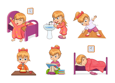 Illustrazione per Girl and daily routine collection, waking up, brushing teeth, stretching and eating, studying and sleeping, daily routine set vector illustration - Immagini Royalty Free