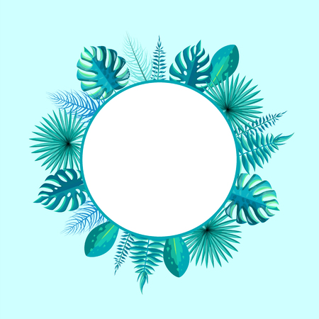 Illustration pour Empty round frame with spare place for text surrounded by tropical palm tree leaves vector illustration wreath with blank circle inside isolated on blue - image libre de droit