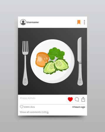 Illustration pour Dish Posted on Instagram, Vector Illustration - image libre de droit