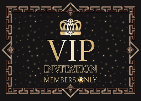 Illustration pour VIP invitation for members only with gold crown and elegant frame. Pass for private party with shiny crown. Exclusive invitation vector illustration. - image libre de droit