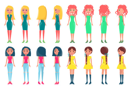 Illustration for Women in fashionable outfits. Girls in colorful dresses with neat hairstyles vector illustrations. Young pretty women in elegant stylish dresses set - Royalty Free Image