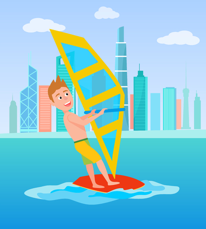 Photo for Windsurfing summer sport and activity, male with surfboard and holding sail, excited man windsurfing sport, vector illustration isolated on white - Royalty Free Image