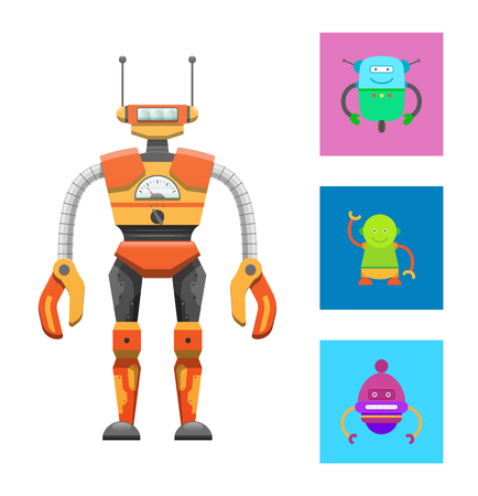Illustration pour Cute humanoid robot, colorful vector illustration isolated on bright backdrop, cyborg with two antennas on head, claws hands, droids icons collection - image libre de droit