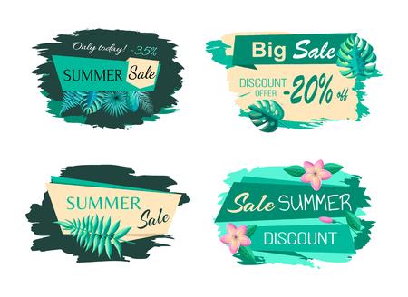 Foto für Exotic leaves on stickers, best discount summer sale blots, offer emblems vector big bundle. Set of promo labels tropical flowers and green blooming buds - Lizenzfreies Bild