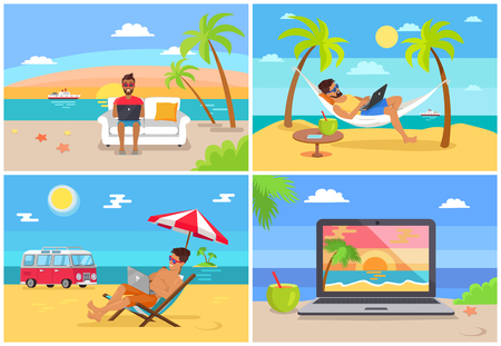 Illustrazione per Freelance work and summer rest sunny sea side vector illustration working on beach freelancers image of laptop with beautiful landscape concept - Immagini Royalty Free