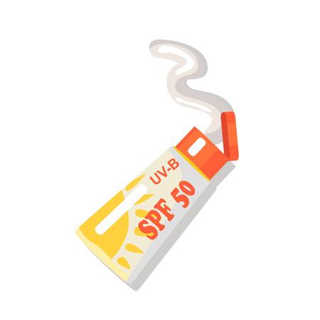 Ilustración de SPF cream isolated for summer relaxation on beach. Vector colorful illustration in flat design of open tube with cosmetic for sun protection - Imagen libre de derechos