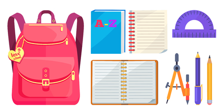 Illustration pour Rucksack for girl in pink colors with inscription on metal heart love school, big pocket and zipper, open exercise book, protractor and compass divider isolated on white background - image libre de droit