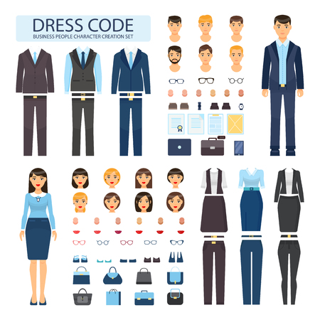 Illustrazione per Dress code for business people characters set. Stylish formal male and female office suits. Constructor of employees with bosses vector illustrations. - Immagini Royalty Free