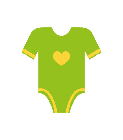 Illustration pour Short sleeves legless green romper with yellow heart vector illustration of first cloth for newborn toddler infant isolated on white background - image libre de droit