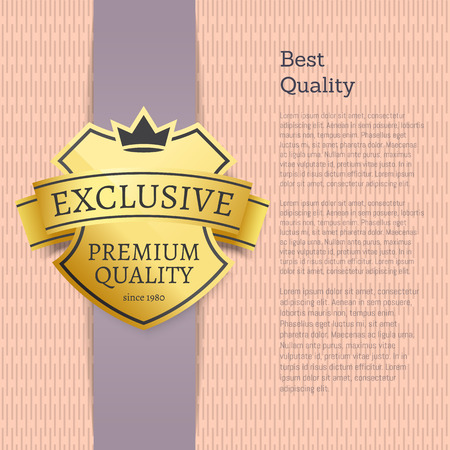 Illustration pour Best quality choice exclusive product gold label. Shiny warranty of premium stuff and vertical banner with sample text vector illustration. - image libre de droit