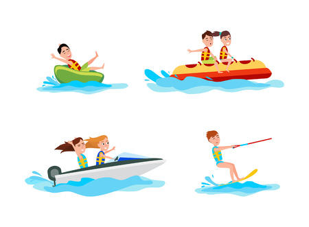 Illustration pour Kitesurfing set of sports collection of summer activities for people, boating and banana boat, vector illustration isolated on white background - image libre de droit