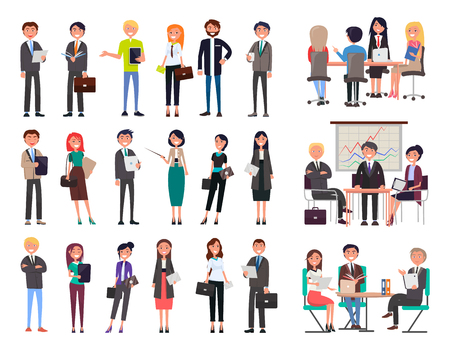 Illustrazione per Business people collection wearing formal suits and dresses, meeting seminars, workshops planning of new projects set isolated on vector illustration - Immagini Royalty Free