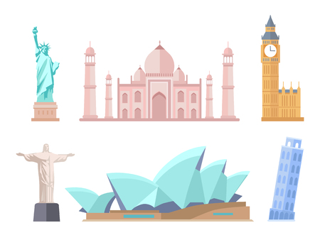 Illustration pour World Famous Sights of Modern and Old Styles Set - image libre de droit