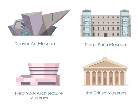 Illustration pour New York Architecture Museum, British Denver Art - image libre de droit