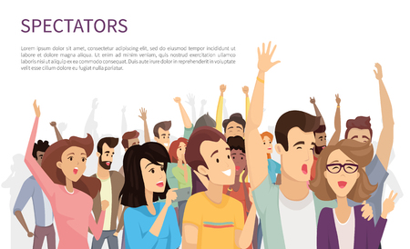 Illustrazione per Spectators isolated on white vector illustration, lot of cheerful people with rising hands and holding their mobile devices, happy emotional crowd - Immagini Royalty Free