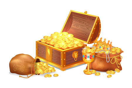 Illustrazione per Old shiny treasures in wooden chest and silk sacks. Gold crown, ancient coins, fancy goblet and pearl beads isolated cartoon vector illustration - Immagini Royalty Free