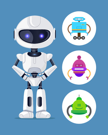 Illustration pour Droid standing calmly, collection of icons with robots having same pose, designed creature scientific element vector illustration, isolated on blue - image libre de droit