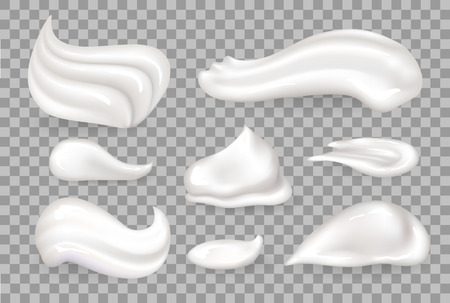 Ilustración de Cream mousse collection of tasty whipped product on milk base, vanilla foam shaped differently vector illustration isolated on transparent background - Imagen libre de derechos