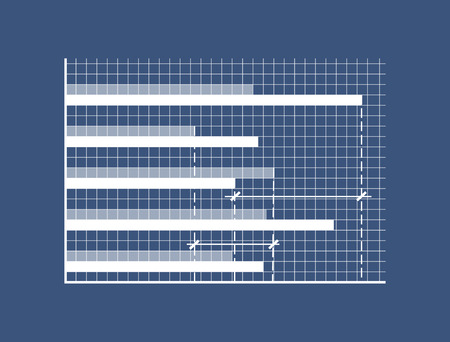 Illustration pour Horizontal bars on minimalistic coordinate system. Special graphic to show statistics on checkered field. Demonstrative graph vector illustration - image libre de droit