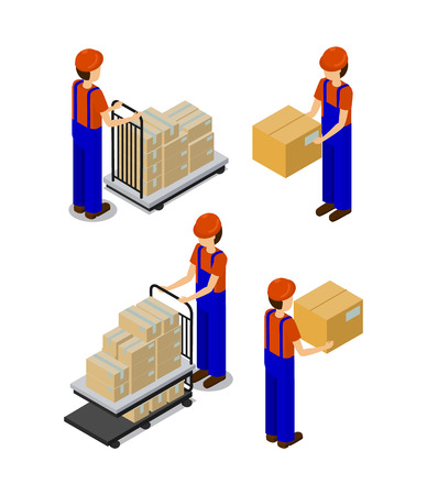 Illustration pour Factory and workers with boxes, transportation production items by employees hands or metal cart, men wearing uniforms isolated on vector illustration - image libre de droit