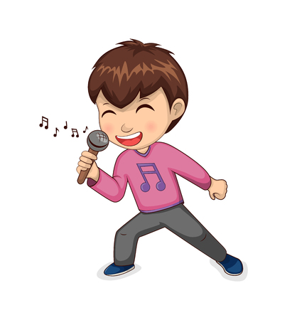 Ilustración de Boy singing happily hobby, child wearing t-shirt with note print, hilding microphone in hand and smiling, person, isolated on vector illustration - Imagen libre de derechos