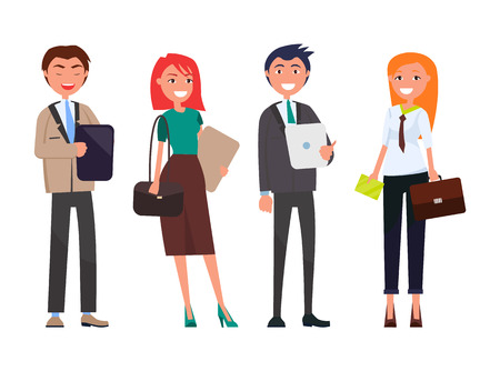 Illustrazione per Businessmen and women with digital tablets isolated set. People on business meeting vector successful team, well-dressed employers in expensive suits - Immagini Royalty Free