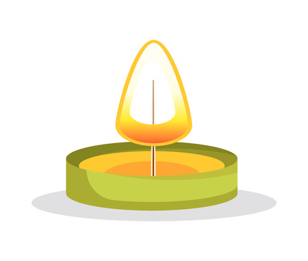 Ilustración de Tea candle with flame object, burning small decorative element andlewick, light and shining rounded item vector illustration isolated on white background - Imagen libre de derechos