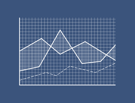 Illustration pour Curves on checkered field with coordinate system. Representation of statistical data in visual form. Simple demonstrative graphic vector illustration. - image libre de droit