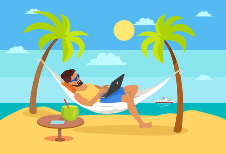 Illustration pour Man lying on hammock with notebook, tropical cocktail on table, freelancer and palm trees, ship on background distant work and freelance concept vector - image libre de droit