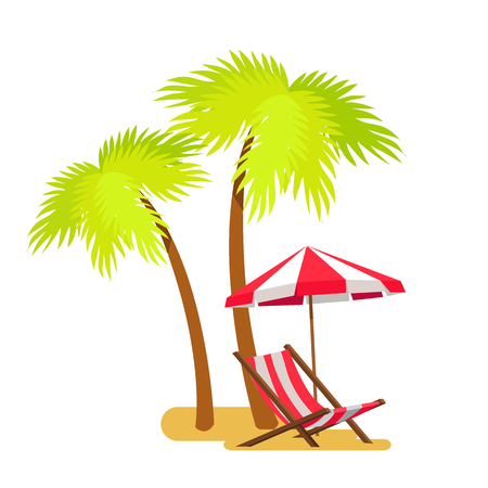 Ilustración de Abstract summer beach, lounge and palm tree vector illustration, white background green leaves of tropical trees striped umbrella over chaise - Imagen libre de derechos