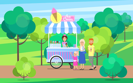Illustration pour Ice cream stand in green park trees and bushes, candies shop family with child, people having fun outdoors activities vector illustration outdoors - image libre de droit