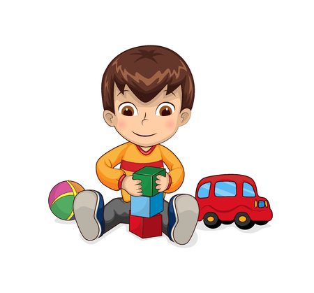 Ilustración de Child playing games connected with cubes, car and ball, bricks constructor for children creativity development vector illustration isolated on white - Imagen libre de derechos