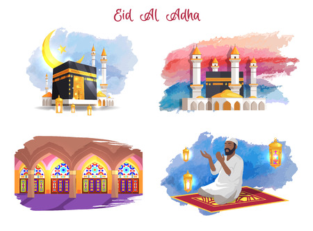 Illustration for Eid Al Adha Muslim Holiday Thematic Pictures Set - Royalty Free Image