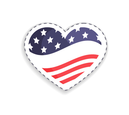 Ilustración de Old Glory placed in heart shaped figure, stripes and stars symbolic signs of USA, Union Glory celebration day vector illustration isolated on white - Imagen libre de derechos