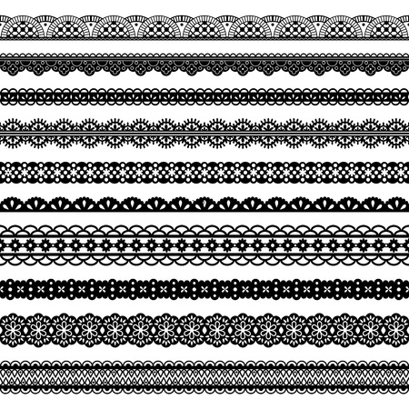 Illustration pour Collection of horizontal laces, black seamless borders for design. Dark laced silhouette isolated on white. Vector decorative stripes stylized tapes - image libre de droit