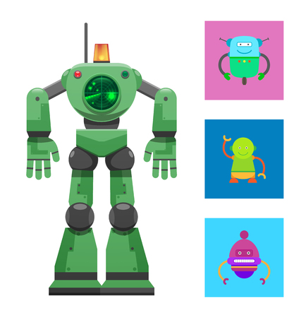 Illustration pour Robot with Radar Collection Vector Illustration - image libre de droit