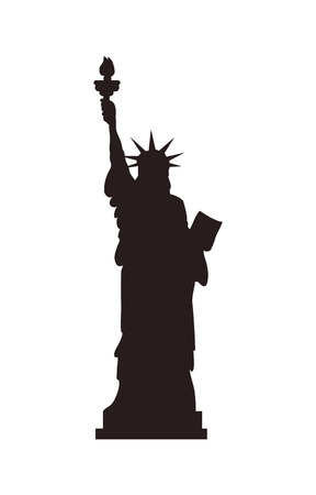 Illustration pour American Statue of Liberty on cubic stand black monochrome silhouette. Monument represented by woman in crown with torch and parchment isolated flat vector - image libre de droit