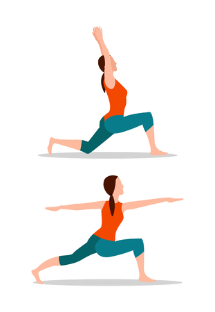 Photo for Crescent lunges and mountain arms up position, activities or yoga collection, sport exercises cartoon flat vector illustrations set isolated on white. - Royalty Free Image