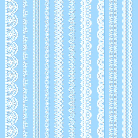 Illustration for Vertical laces collection, white seamless borders for design. Light laced silhouettes isolated on blue. Vector decorative stripes stylized tapes - Royalty Free Image