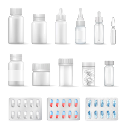 Ilustración de Empty Containers for Medical Liquids and Pills Set - Imagen libre de derechos