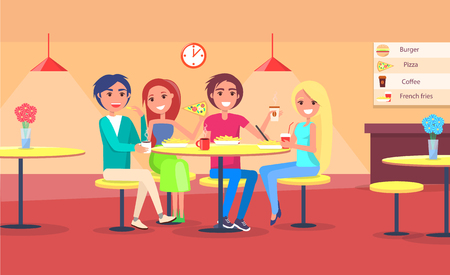 Ilustración de Friends eating pizza in cafe vector illustration of happy couples having snack in restaurant, people sitting on chairs at table indoor interior design - Imagen libre de derechos