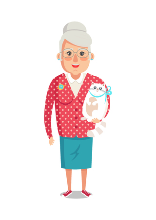 Illustrazione per Elderly woman in red jacket with home cat, grandmother vector of granny with cute domestic kitten pet isolated on white background, lady on retirement - Immagini Royalty Free