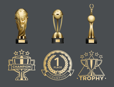 Illustration for Gold Trophy Cups and Medals for 1st Place Set - Royalty Free Image