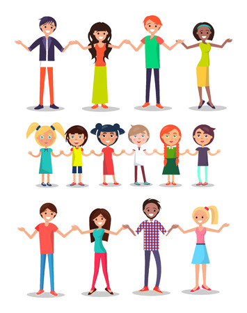 Illustration for Kids and parents cartoon characters happy multinational people holding hands children and adults together vector illustration isolated on white background. - Royalty Free Image
