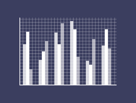 Illustration pour Graphic chart with thin bars on checkered field. Statistical data presentation. Demonstrative graph isolated vector illustration - image libre de droit