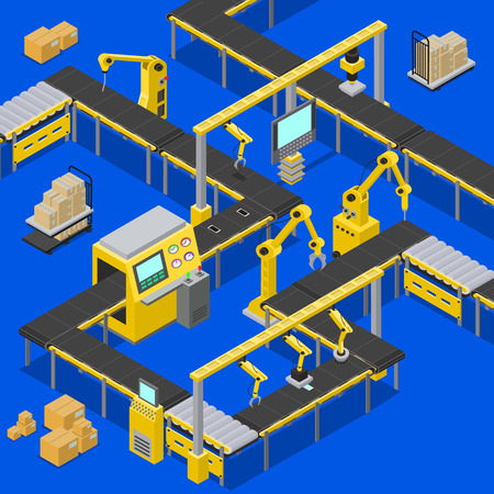 Ilustración de Computers and production line, boxes creation, screens with pointers sowing information about process of work, machinery set, vector illustration - Imagen libre de derechos